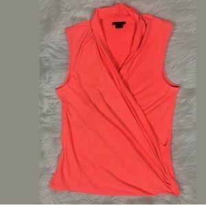 Theory Derona Neon Pink Wrap Sleeveless Top L